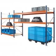 Mecalux Heavy-Duty Longspan End Frames 900mm Deep to Build a Complete Shelving System