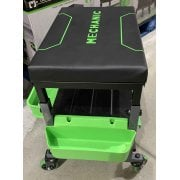 Mechanic Mobile Utility Stool with Adjustable Height and Padded Seat