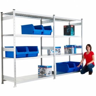PQ Medium-Duty Galvanised Shelving Unit 900 to 2500mm Width and 2 Heights
