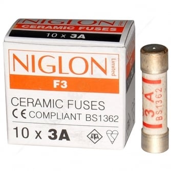 PQ Niglon Quality Domestic Fuses in packs of 10 3 and 13amp