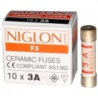 Niglon Quality Domestic Fuses in packs of 10 3 and 13amp
