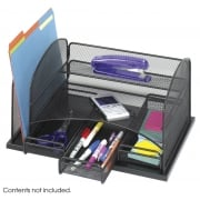 Onyx Mesh Desk Organizer, 1 Upright Section, 3 Drawers, Black