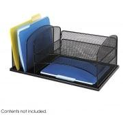 Onyx Mesh Desk Organizer, 3 Horizontal, 3 Upright Sections, Black