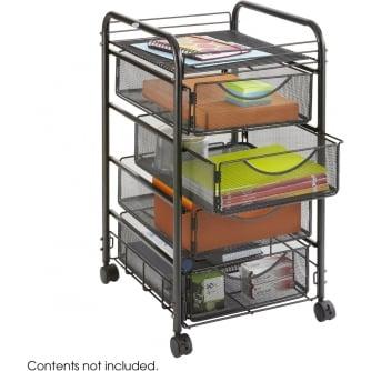 PQ Onyx Mesh Mobile Cart, 4 drawers