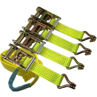 PQ Ratchet Straps 5000kgs x 50mm x 2mtr - Sewn Loop and Claw Hi Viz Yellow