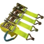 Ratchet Straps 5000kgs x 50mm x 2mtr - Sewn Loop and Claw Hi Viz Yellow