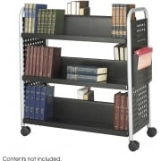 Scoot Double Sided Six Shelf Book Cart, Black