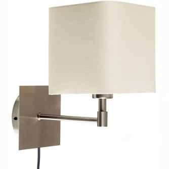 PQ Sheldon Swing Arm Bedside Brushed Chrome Light with Square Shade