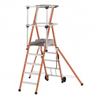 PQ Sherpa Fibreglass Platform Ladder 3, 4 or 5 Treads