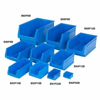 PQ Small Parts Plastic Storage Bins 9 Sizes in 3 Colours