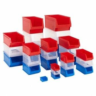 PQ Small Parts Plastic Storage Bins 9 Sizes in 3 Colours