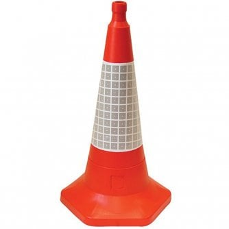 PQ Traffic Cone 500mm One-Piece Impact-Resistant Polythene with Sand-Weighted Base