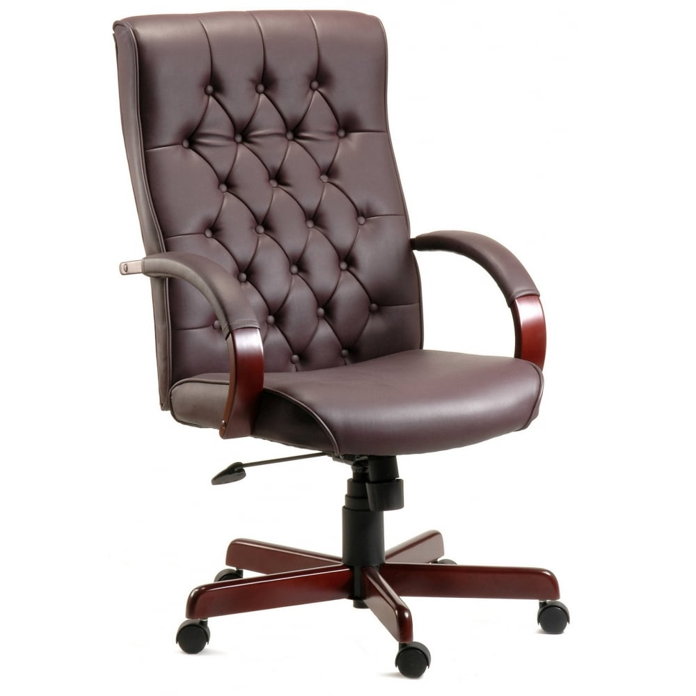 Traditional armchair - Pq Warwick The Traditional Leather Faced Executive Armchair Brown Cream Or Burgundy