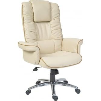 PQ Windsor Cream Leather Bonded Executive Armchair With Aluminium Base