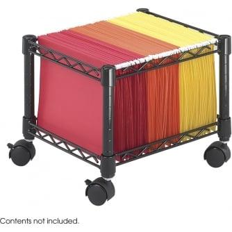 PQ Wire Mini Mobile File Cart Mini (Foolscap), Black