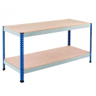 PQ PQ400 Workbenches Blue/Grey Galvanised 2 Chipboard Levels 400kg UDL
