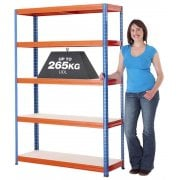 Medium-Duty Blue & Orange Shelving Unit 5 Levels 265kg UDL