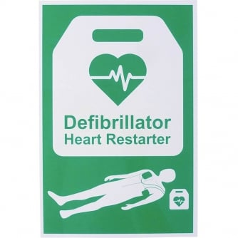 Safety First Aid AED Defibrillator Safety Sign 20x30cm Rigid Plastic