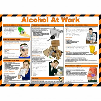 Safety First Aid Alcohol at Work Poster, Laminated