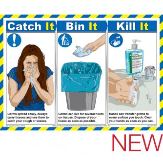 Safety First Aid Catch It, Bin It, Kill It Poster, Laminated