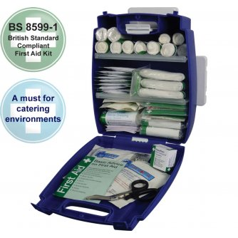 Safety First Aid Catering First Aid Kit British Standard  BS8599 Evolution Plus Blue Case - Small