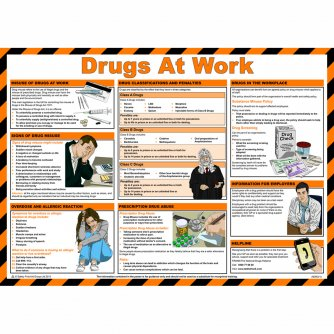 Safety First Aid Drugs at Work, Laminated