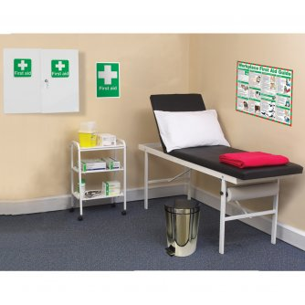 Safety First Aid Economy First Aid Room with Couch, Sign, Poster, Pillow, Blanket, Trolley, Bin & Paper Roll
