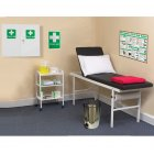 Economy First Aid Room with Couch, Sign, Poster, Pillow, Blanket, Trolley, Bin & Paper Roll