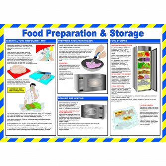 Safety First Aid Food Preparation and Storage Poster, Laminated