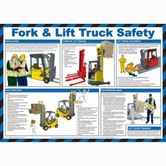 Safety First Aid Fork and Lift Truck Safety Poster, Laminated