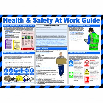 Safety First Aid Health and Safety at Work Guide Poster, Laminated