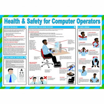 Safety First Aid Health and Safety for Computer Operators, Laminated