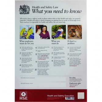 Safety First Aid Health and Safety Law Poster with A2 Frame