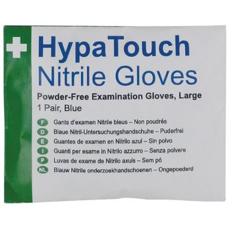 Safety First Aid HypaTouch Powder-Free Nitrile Gloves, 6 x Pairs Size Large