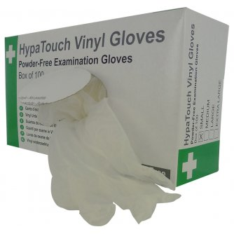 Safety First Aid HypaTouch Powder-Free Vinyl Gloves, Large (Box of 100)