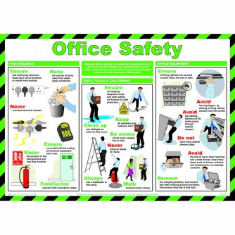 Safety First Aid Office Safety Poster, Laminated