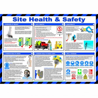 Safety First Aid Site Health and Safety Poster, Laminated