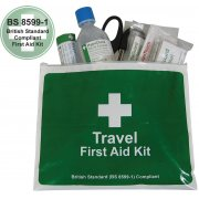 Travel First Aid Kit British Standard Compliant in Vinyl Wallet