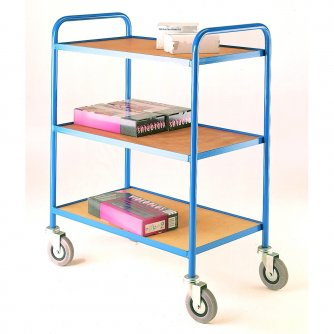 British Tray Trolleys Large & Small, 2 & 3 levels with Plywood Trays